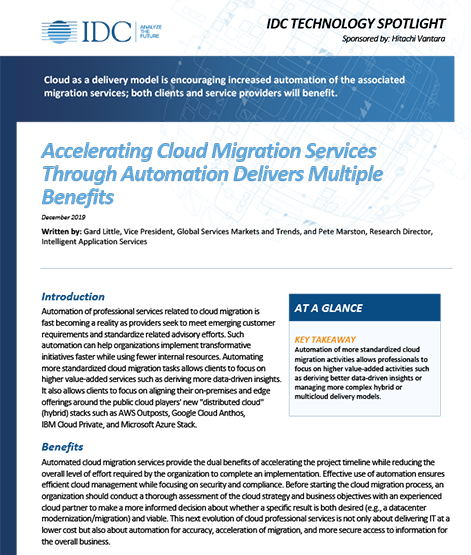 Accelerating Cloud Migration Services Through Automation Delivers Multiple Benefits