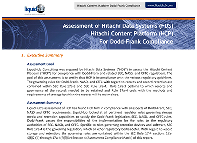 Assessment of Hitachi Content Platform (HCP) For Dodd-Frank Compliance