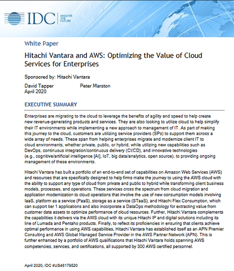 Hitachi Vantara and AWS: Optimizing the Value of Cloud Services for Enterprises - IDC Whitepaper