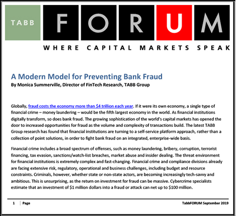 Modern Model for Preventing Bank Fraud - TABB Group Research Report