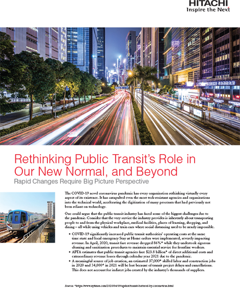 Rethinking Public Transit's Role in Our New Normal, and Beyond - Whitepaper